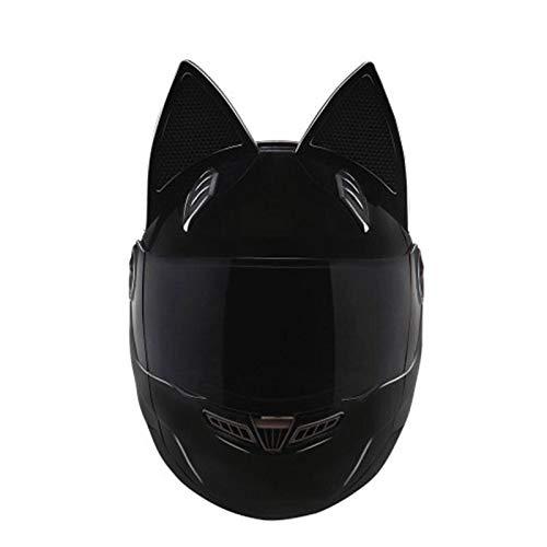 Schwarzer Vollgesichts-motorradhelm Persönlichkeit Katzenhelm Mode Motorradhelm Moto Capacete