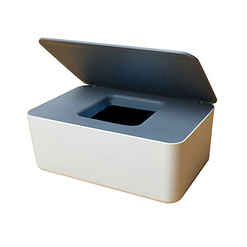 Caja de almacenamiento para toallitas húmedas, toallitas húmedas, para papel de seda seco y húmedo, soporte para servilletas, soporte dispensador con tapa para el hogar y la oficina (gris y blanco)
