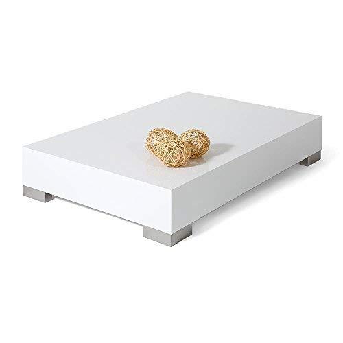 Mobilifiver Tavolino da Salotto, iCube 90, Bianco Lucido, 90 x 60 x 18 cm, Nobilitato/Acciaio Inox Satinato, Made in Italy, Disponibile in Vari Colori