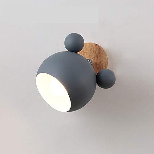 Kreative Holz Mickey Mouse Wandleuchten Nordic Macaron LED E27 5 Farbe Wandleuchte Kinder Lesen Schlafzimmer Nachttischlampe-Grau
