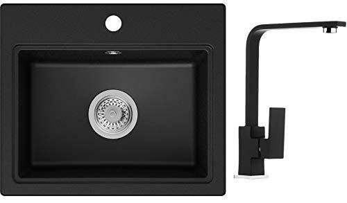 PRIMAGRAN Fregadero de Granito - Oslo, Lavabo Cocina Un Seno + Mezclador de Fregadero + Sifón Clásico, Fregadero Empotrado 51 x 43,5 cm, Negro
