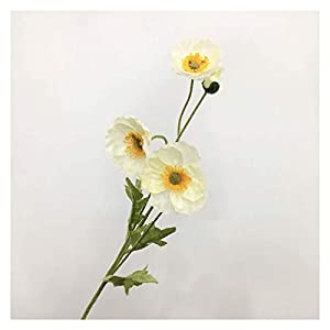 Artificial flower plant decoration Artificial Poppy Flowers, Flocking Artificial Flowers, Wedding Silk Flowers, Home Decoration Artificial Flowers Ornaments for Real Flowers, Gifts For Relatives And F