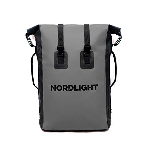 Nordlight Drybag 35 L Roll Top - (Anthrazit) mit gepolstertem Tragegurt, Dry Bag Rucksack für Wassersport, Fahrrad Rucksack, Kurierrucksack, Trekking, Angeln