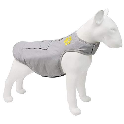 QKEMM Abrigo de Invierno con Capucha para Perro Anillo en D Impermeable Reversible Perro Mediano Ropa para Grande Mascotas Perritos Gris L