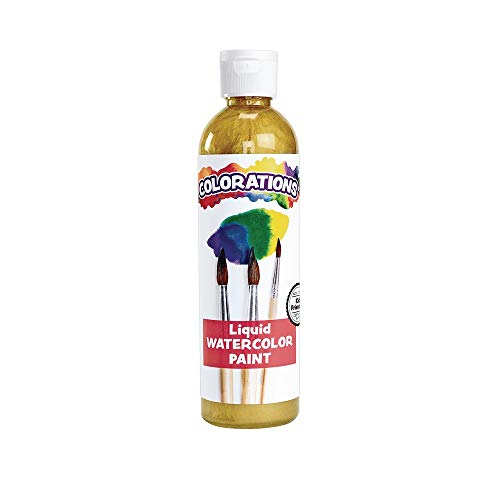 Colorations Liquid Watercolor Paint, 8 fl oz, Gold, Non-Toxic, Painting, Kids, Craft, Hobby, Fun, Water Color, Posters, Cool Effects, Versatile, Gift