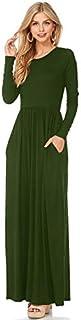 Women Maxi Long Dress Long Sleeves O-Neck Pockets Casual A-Line Dresses