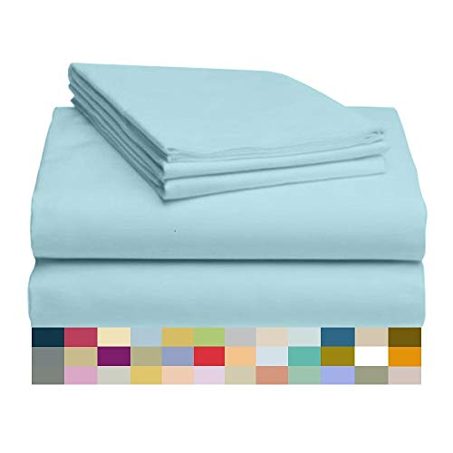 """Price comparison product image LuxClub 4 PC Sheet Set Bamboo Sheets Deep Pockets 18"""" Eco Friendly Wrinkle Free Sheets Hypoallergenic Anti-Bacteria Machine Washable Hotel Bedding Silky Soft - Aqua Twin"""