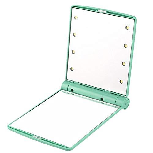 LASISZ Pliable Miroir LED Portable Poche Compacte 8 Lumières LED Composent Miroir Illuminé Cosmétique Outils de Beauté de Table, Vert