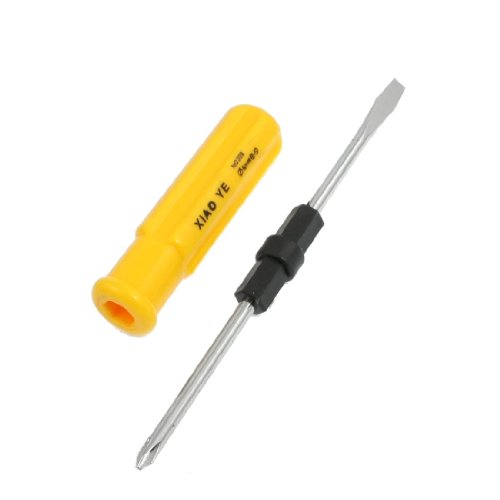 Aexit Yellow Plastic Screwdrivers Handle 2 in 1 Slotted Cross Head Flat-Head Screwdrivers Screwdriver Tool