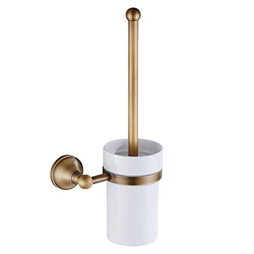 Xigeapg Antikes Messing Badezimmer WC-Buersten Set Halter Buerste mit keramischer Schale