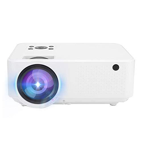 Proyector portátil, 720P 2800LM 2000 : 1 Panel LCD de relación de Contraste Luz LED Proyector de Cine en casa con 50,000 Horas de Vida útil de la lámpara LED, Proyector de Reproductor(Blanco)