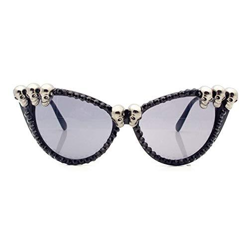 QPRER Sonnenbrille,Gothic Skull Halloween Cat Eye Farbverlaufslinse Damen Seaside Bathing Sonnenbrille Street Girls Travel Shopping Brille Unisex Charming Valentinstag Thanksgiving Geschenk