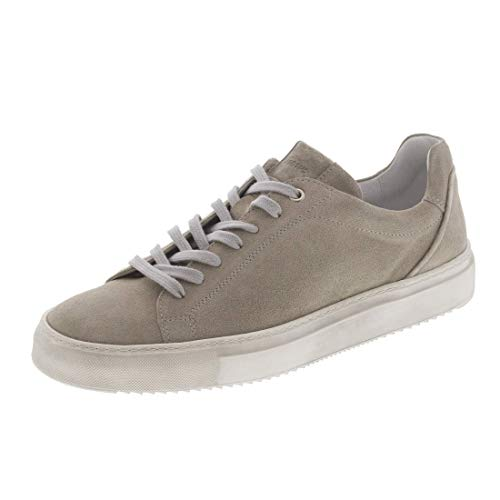 Barefoot Living x Sioux Unisex Tils Sneaker Halbschuhe Leder Klassische Turnschuhe Sportschuhe in Creme Sand Größe 44 aus Kalb-Veloursleder