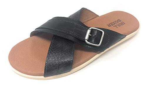 BULLBOXER Herren Leder Sandalen Freizeit Schuhe Schlappen Slipper Pantoletten (42 EU)