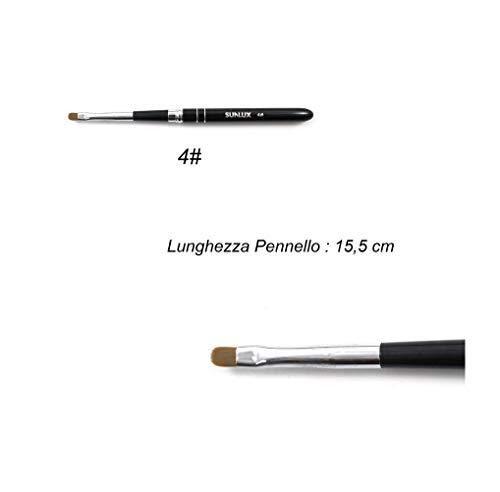 takestop® Brush Set 2 stuks ovaal voor het modelleren van gel-versieringen Nail Art nagelstenen French RICOSTRUMPER MIKROPITTURA Micro manicure, Numero 4