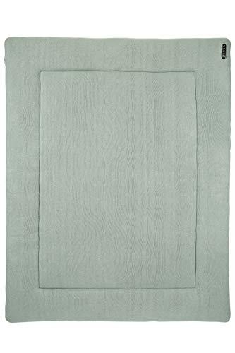 Meyco 2793022 Laufgittereinlage - Boxmatratze - Spieldecke - 100% Baumwolle Feinstrick KNIT Basic Stone Green 77x97cm