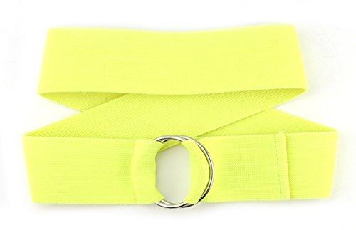 NYFASHION101 Unisex Canvas Stretch Elastic Belt w/Silver Metal Round Buckle, Neon Yellow