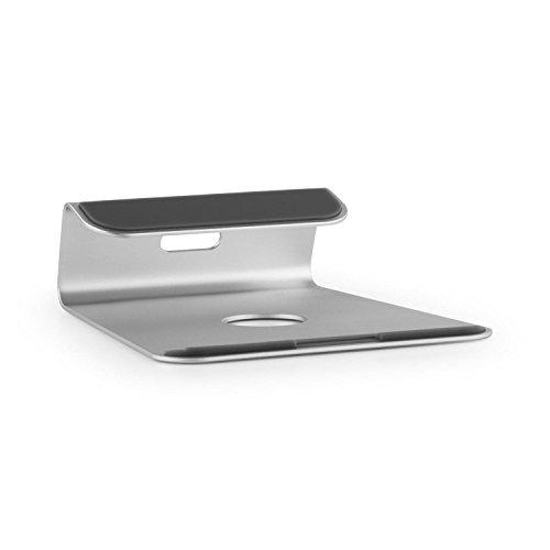 AUNA A-ST-1 Supporto Laptop Universale Rialzante Notebook Stand In Alluminio (Pad in Silicone Antiscivolo, Angolo Ergonomico 18°, design moderno) Color argento