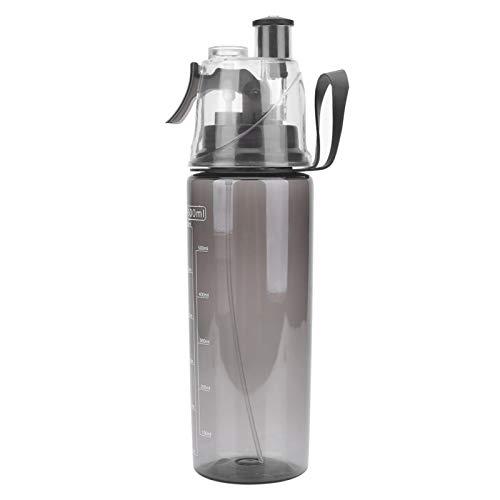 Qukaim Botella de Agua portátil con atomizador de plástico Transparente de 600 ML, Herramienta de Ciclismo Escolar(Negro)