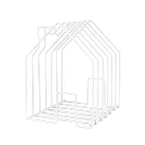 balvi Zeitschriftenständer Home Farbe Weiß In Form eines Hauses Große Kapazität für Zeitschriften, Kataloge oder Tageszeitungen Stahl