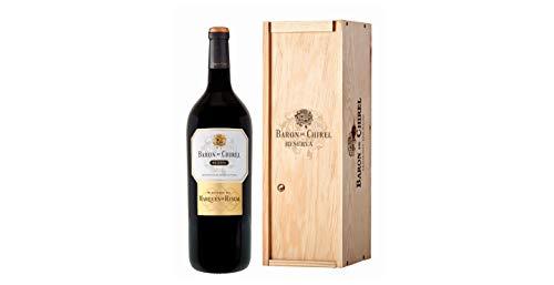 Marqués de Riscal - Vino tinto Reserva Barón de Chirel D.O.Ca. Rioja, Variedad Tempranillo, 20 meses de crianza en barrica de roble francés - Estuche madera botella Magnum 1,5L