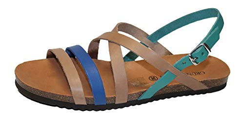 GRUNLAND Deny SB0712 Sandalo Donna Incrociato Sughero (40 EU, Ottanio-Multi)