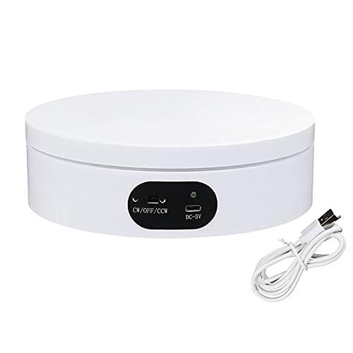 Frunimall Soporte de exhibición giratorio eléctrico, soporte giratorio motorizado de 360° Soporte de exhibición de tabla de fotografía del soporte para video en vivo 4.7 pulgadas