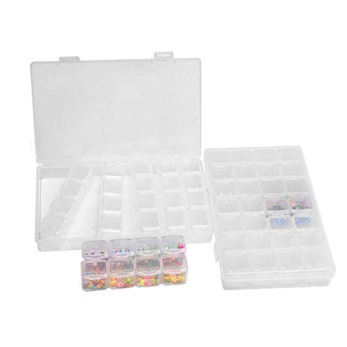 28 Raster Jewelry Bead Trennwände klar Container, 2 Pack Diamant Stickerei Box Organizer mit Deckel abnehmbarer verstellbarer Make-Transparent Kunststoff Fall Aufbewahrungsbox für Saatgut