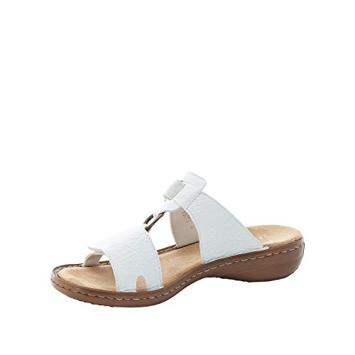Rieker Mujer Sandalias 608A1, señora Sandalia con Tiras,Zapato de Verano,Sandalia de Verano,Sandalia,cómoda,Plana,Blanco (Weiss / 80),39 EU / 6 EU