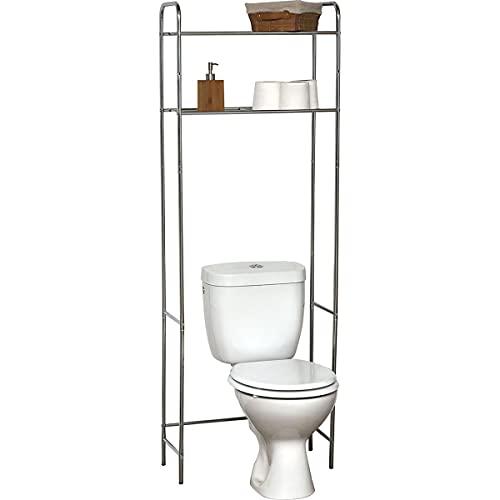 TIENDA EURASIA® Estanteria Baño Encima WC - Estanteria Metalica de 2 Baldas Universal Adaptable a Todos los WC (Cromado)