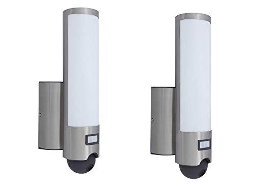 Set van 2 LED-buitenlampen, wandlampen met bewegingsmelder en camera