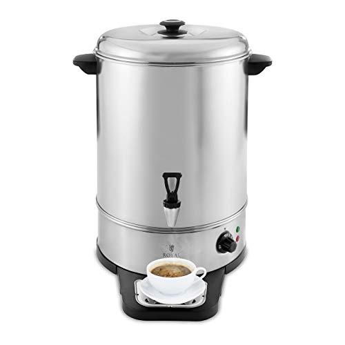 Royal Catering RCWK 30A Wasserkocher Abtropfschale 26 l 30 l 2.500 W Edelstahl 100 °C Teekocher Ablasshahn