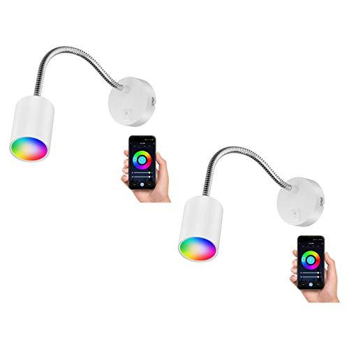 ledscom.de Luz de lectura WAIKA con SchWANEnhals e interruptor blanco mate, incl. Lámpara LED Smart Home RGBW GU10, 5.2W=45W, 550lm, 2 uds.