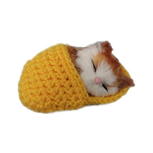 SUPVOX Plüsch Katze in Hausschuhe Baby Plüschtier Kuscheltier Stofftier Weihnachten Geschenk für Mädchen Jungen Kinder Haustier Katzenspielzeug (Gelb)