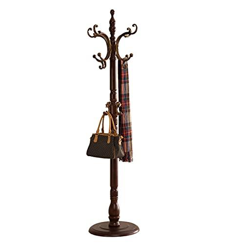 OMYLFQ Soporte Tradicional del Bastidor de la Percha de la Percha de Madera de la suspensión de la suspensión del árbol de Madera con 8 Ganchos para Las Ropas Sombreros y Bolsas