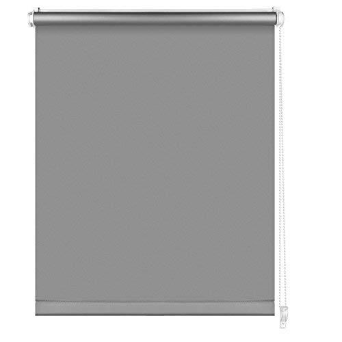 S SIENOC Thermorollo Klemmfix Rollo Verdunkelungsrollo Silberbeschichtung lichtundurchlässig Sichtschutz für Fenster & Türen (Grau, 105x150 cm)