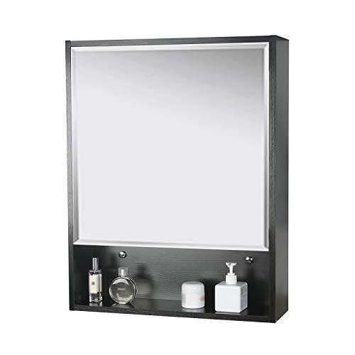 LUCKWIND Bathroom Medicine Cabinet Mirror - 24' Wall Storage Vanity Espejo baño Organizer Wood Storage Cabinet with Mirror Adjustable Wall Mounted Cabinet Black 28 X 22