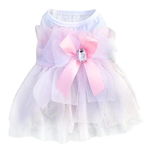 Poseca Vestido de Novia Vestido de Cachorro Vestidos de Perrito Princesa Vestido Arco Perro Tutu Faldas Verano Perro Ropa Rosa Vestido de Perro Blanco para Perros pequeños