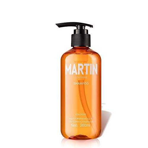 Martin Shampoo for Oily Hair and Oily Scalp, 260ml Men's Cologne Fragrance Moisturizing Refreshing & Oil Control Shampoo, Antidandruff Anti-Itch Cleansing