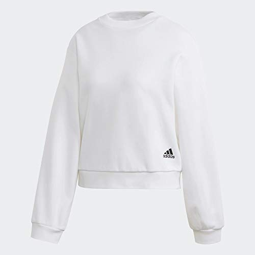 adidas Womens W St Crew Pullover Sweater, White, L