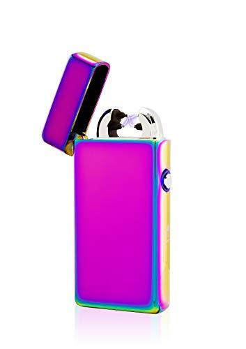 TESLA Lighter T08 Lichtbogen Feuerzeug, Plasma Double-Arc, elektronisch wiederaufladbar, aufladbar mit Strom per USB, ohne Gas und Benzin, mit Ladekabel, in edler Geschenkverpackung Regenbogen