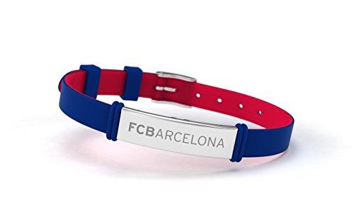 FCB Pulsera Fashion Azul, Pulsera ajustable de silicona y acero inoxidable Fútbol...