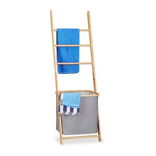 Relaxdays handdoekhouder bamboe, handdoekstandaard met waszak, wasverzamelaar ladderrek, h x b x d: 139 x 43,5 x 33 cm, naturel