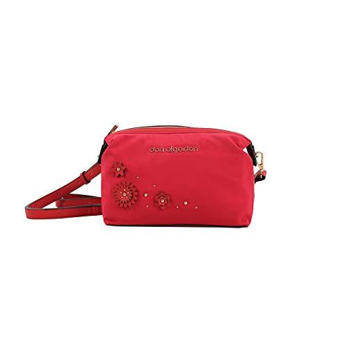 Don algodón Urban, Bolso Bandolera Mujer Flores, Rojo, 25x16x11 cm