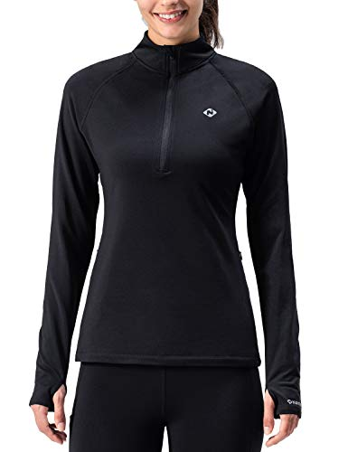 NAVISKIN Damen Laufjacke 1/2 Zip warm Langarmshirt Training nahtlos Longsleeve schwarz Größe S