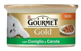 Purina Gourmet Gold Feuchte Katze Würfel in Sauce mit Hase und Karotten, 24 Dosen à 85 g, 24 x 85 g
