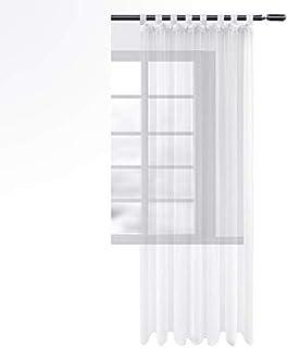 WOLTU Cortinas Translucidas con Trabillas para Ventana salón habitación y Dormitorio Moderno Anti-UV Respirable 1 Pieza 140x245cm Blanco VH5901ws