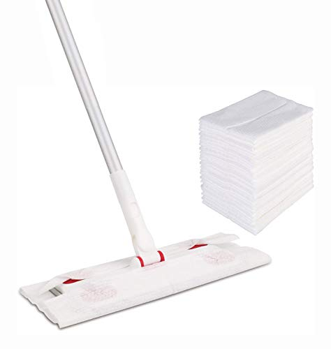 CLEANHOME Disposable Dust Mop with 30 Dry Refill Pads,Professional Hardwood Floor Cleaner Mopping,Red