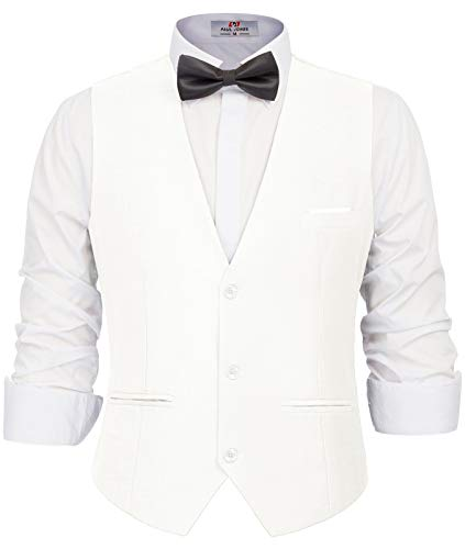 Men's V-Neck Sleeveless Slim Fit Jacket White Casual Suit Vests White, Large