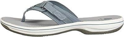 CLARKS Women's Breeze SEA Sandal, Blue Grey Synthetic, 70 M US